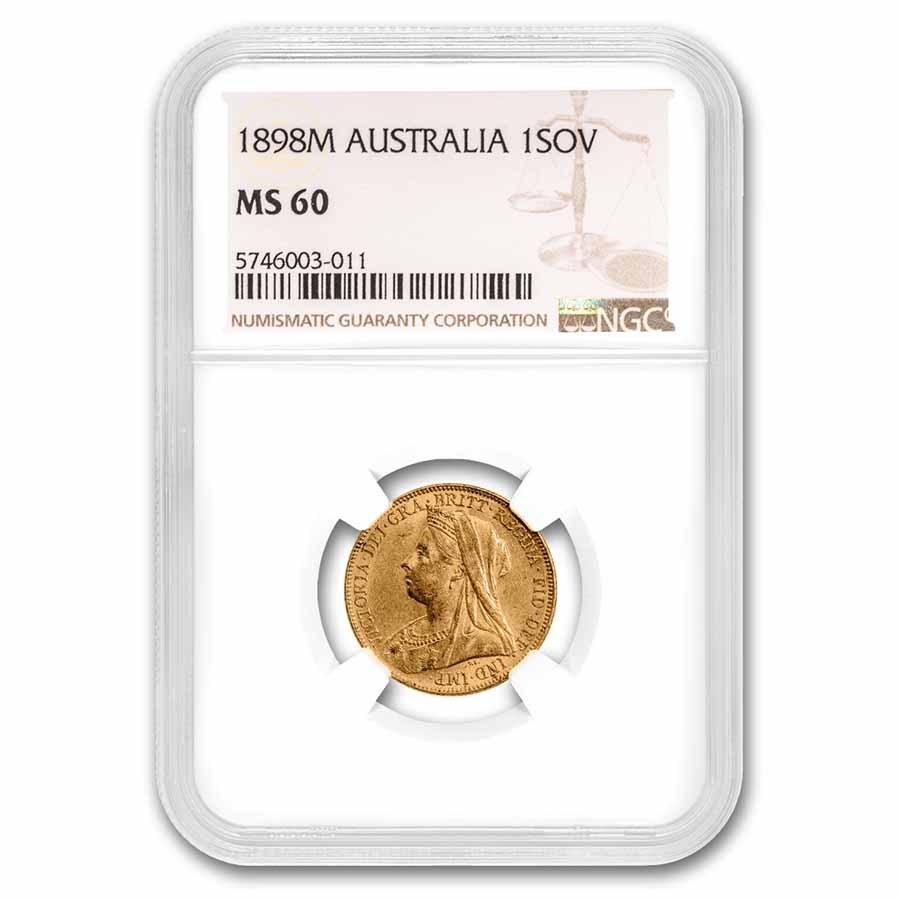1898-M Australia Gold Sovereign Victoria Veiled Head MS-60 NGC