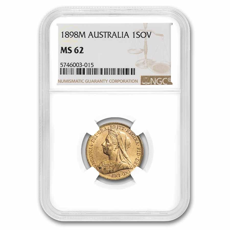 1898-M Australia Gold Sovereign Victoria Veiled Head MS-62 NGC