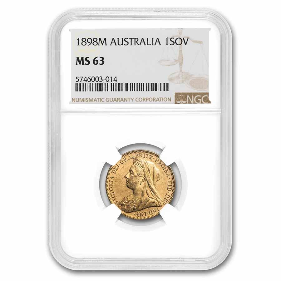 1898-M Australia Gold Sovereign Victoria Veiled Head MS-63 NGC