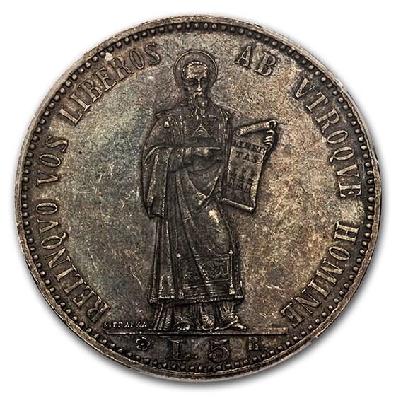1898-R San Marino Silver 5 Lire MS-63 PCGS