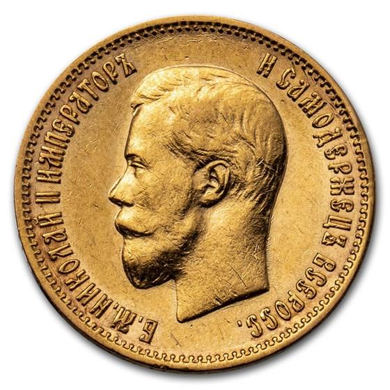 1898 Russia Gold 10 Roubles AU