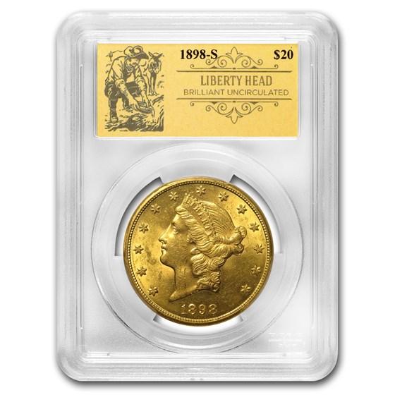 1898-S $20 Liberty Gold Double Eagle BU PCGS (Prospector Label)
