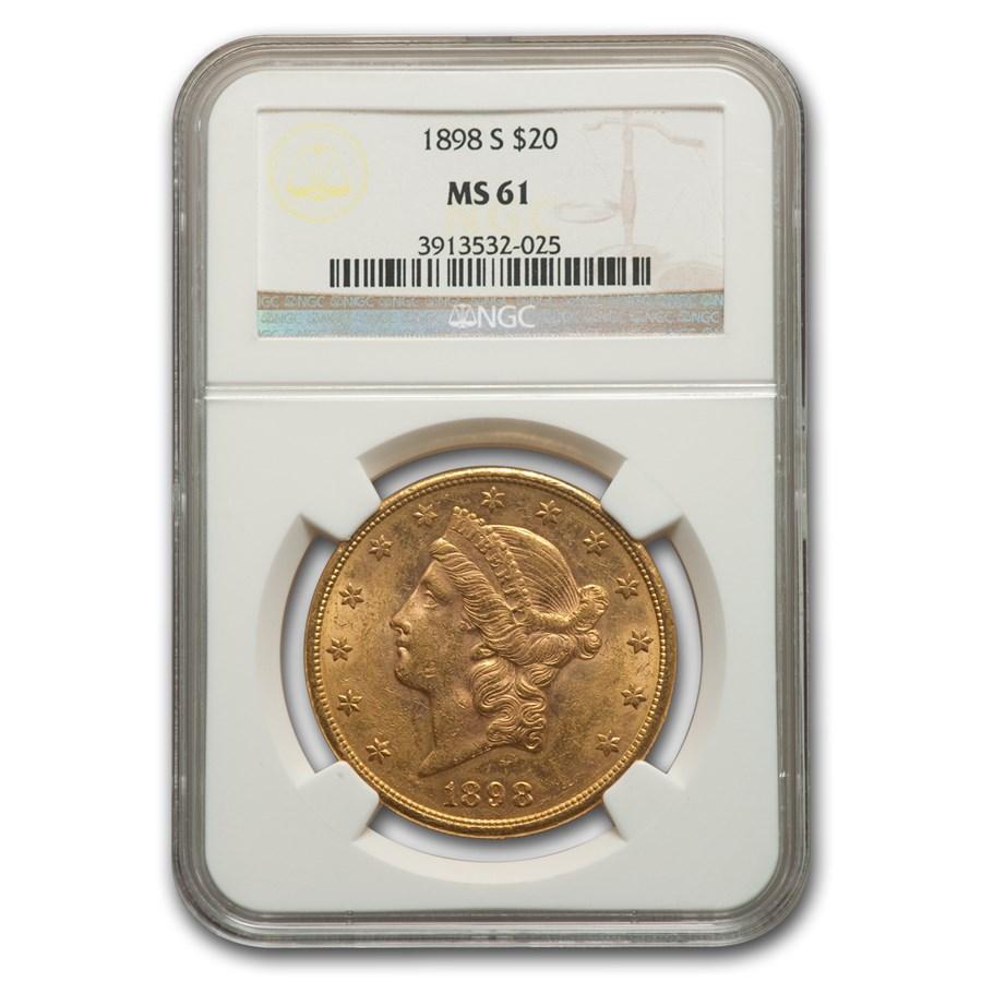 1898-S $20 Liberty Gold Double Eagle MS-61 NGC