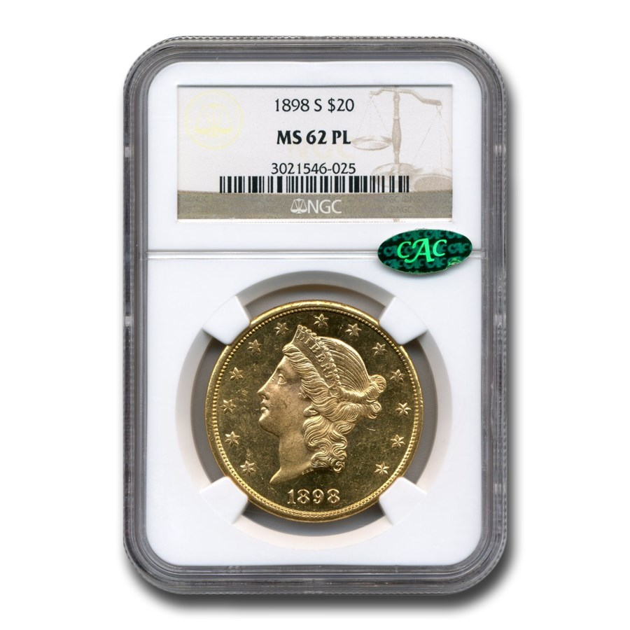 1898-S $20 Liberty Gold Double Eagle MS-62 NGC CAC (PL)