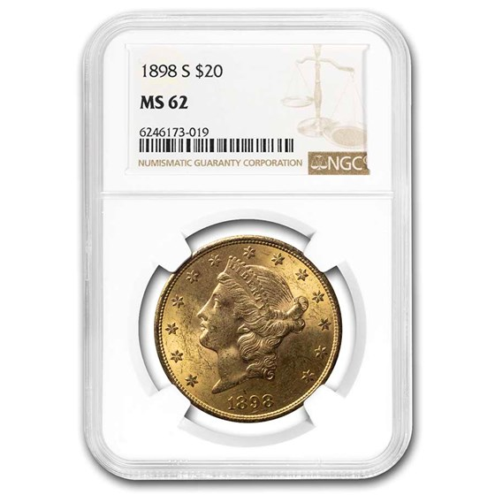 1898-S $20 Liberty Gold Double Eagle MS-62 NGC