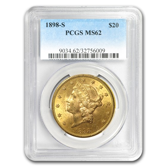 1898-S $20 Liberty Gold Double Eagle MS-62 PCGS