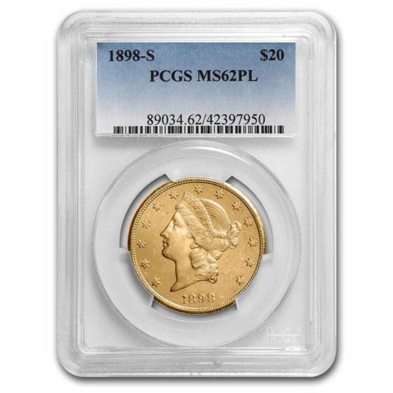 1898-S $20 Liberty Gold Double Eagle MS-62 PL PCGS