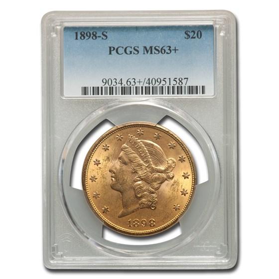 1898-S $20 Liberty Gold Double Eagle MS-63+ PCGS
