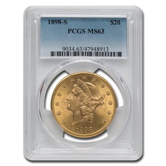 1898-S $20 Liberty Gold Double Eagle MS-63 PCGS