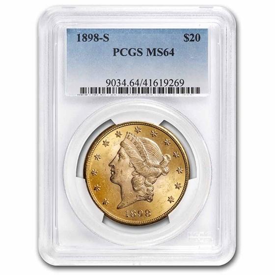 1898-S $20 Liberty Gold Double Eagle MS-64 PCGS
