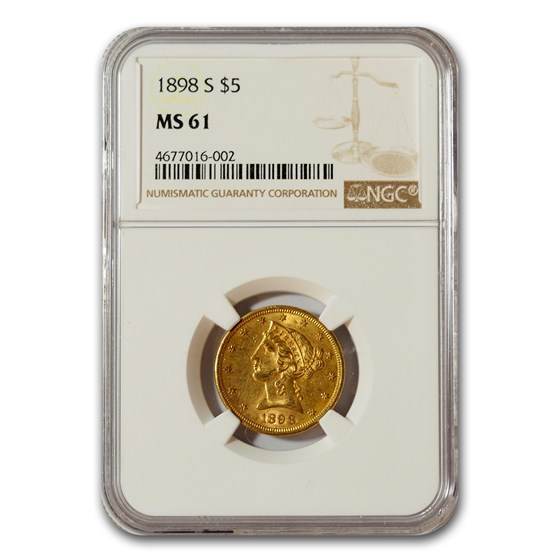 1898-S $5 Liberty Gold Half Eagle MS-61 NGC