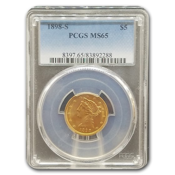 1898-S $5 Liberty Gold Half Eagle MS-65 PCGS