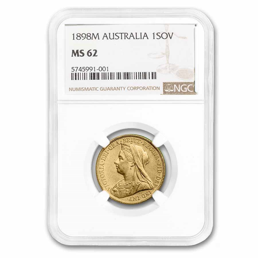 1898-S Australia Gold Sovereign Victoria Veiled Head MS-62 NGC