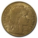 1899-1914 France Gold 10 Francs Rooster (AU)