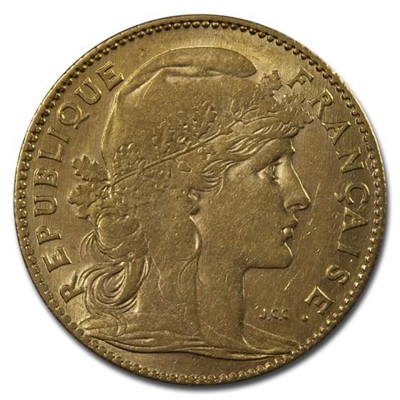 1899-1914 France Gold 10 Francs Rooster (AU)