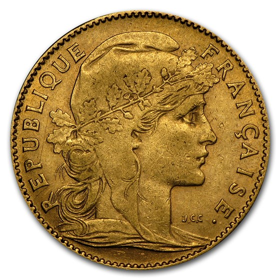1899-1914 France Gold 10 Francs Rooster (Avg Circ)