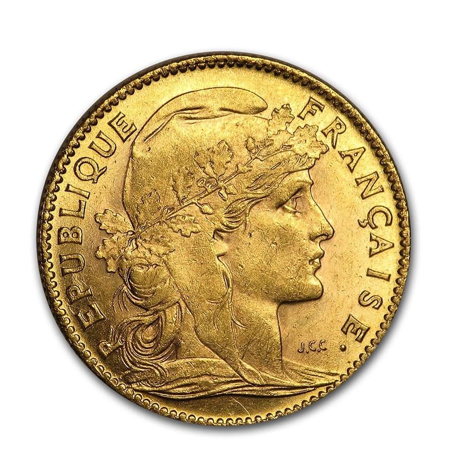 1899-1914 France Gold 10 Francs Rooster (BU)