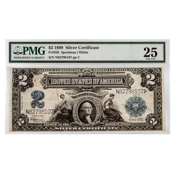 1899 $2.00 Silver Cert. George Washington VF-25 PMG (Fr#258)