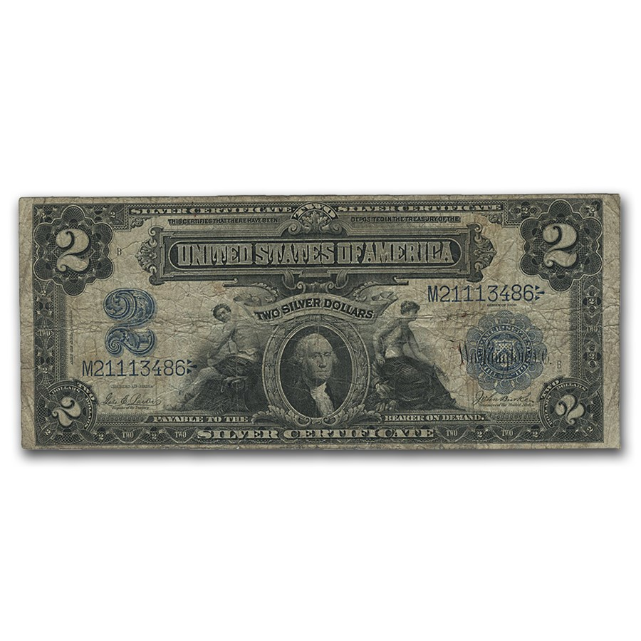 1899 $2.00 Silver Certificate George Washington Fine