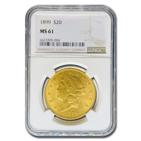 1899 $20 Liberty Gold Double Eagle MS-61 NGC
