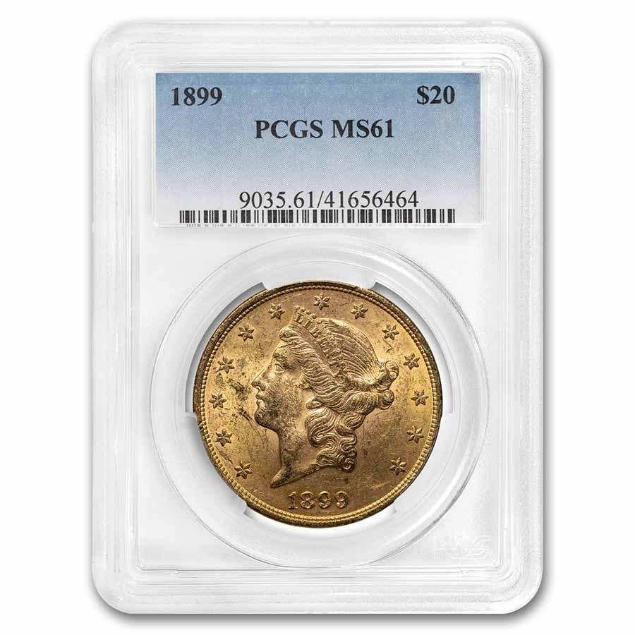 1899 $20 Liberty Gold Double Eagle MS-61 PCGS