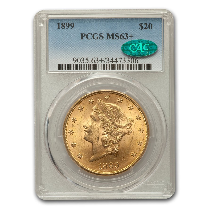 1899 $20 Liberty Gold Double Eagle MS-63+ PCGS CAC