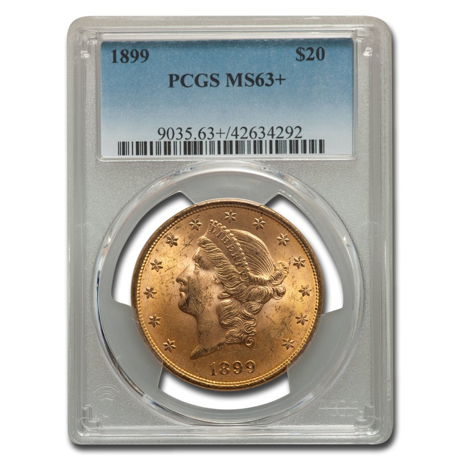 1899 $20 Liberty Gold Double Eagle MS-63+ PCGS