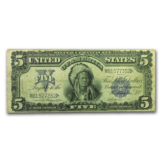 1899 $5.00 Silver Certificate Chief F/VF