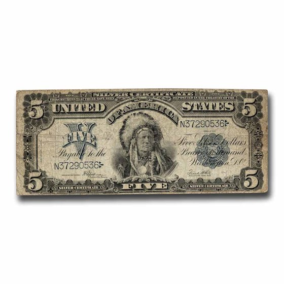 1899 $5.00 Silver Certificate Chief Running Antelope VG (Fr#281)