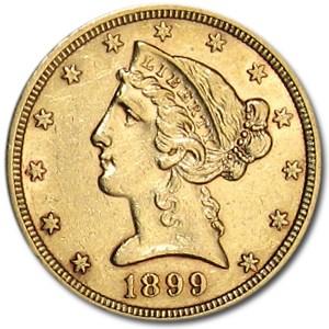 1899 $5 Liberty Gold Half Eagle AU