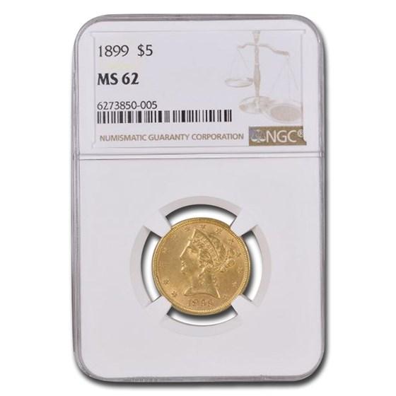 1899 $5 Liberty Gold Half Eagle MS-62 NGC