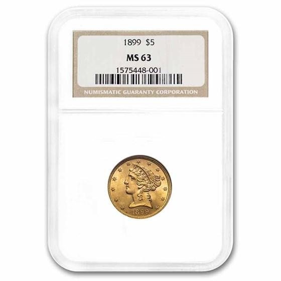 1899 $5 Liberty Gold Half Eagle MS-63 NGC