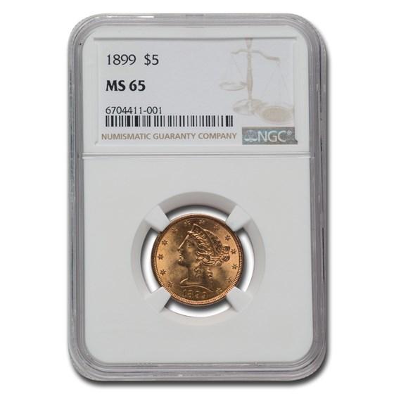 1899 $5 Liberty Gold Half Eagle MS-65 NGC