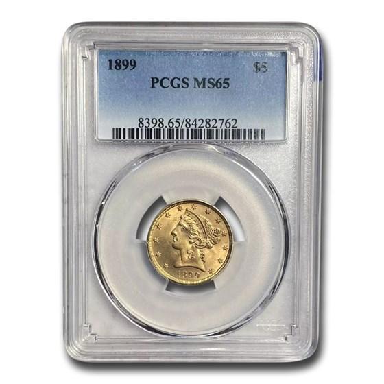 1899 $5 Liberty Gold Half Eagle MS-65 PCGS