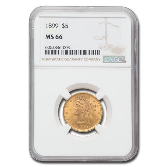 1899 $5 Liberty Gold Half Eagle MS-66 NGC