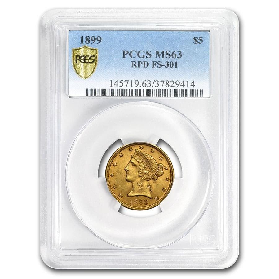 1899/99 $5 Liberty Gold Half Eagle MS-63 PCGS (RPD FS-301)