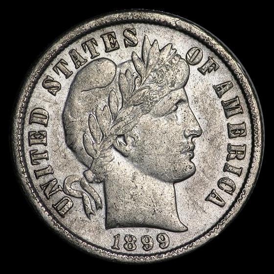 1899 Barber Dime AU (Details)