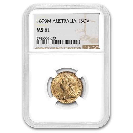1899-M Australia Gold Sovereign Veil Head Victoria MS-61 NGC