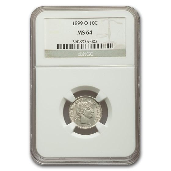 1899-O Barber Dime MS-64 NGC