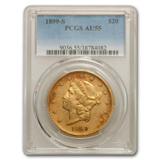 1899-S $20 Liberty Gold Double Eagle AU-55 PCGS