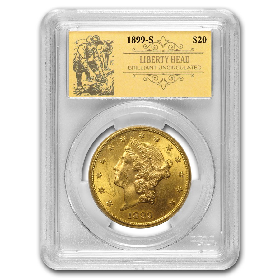 1899-S $20 Liberty Gold Double Eagle BU PCGS (Prospector Label)