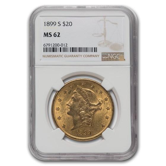 1899-S $20 Liberty Gold Double Eagle MS-62 NGC