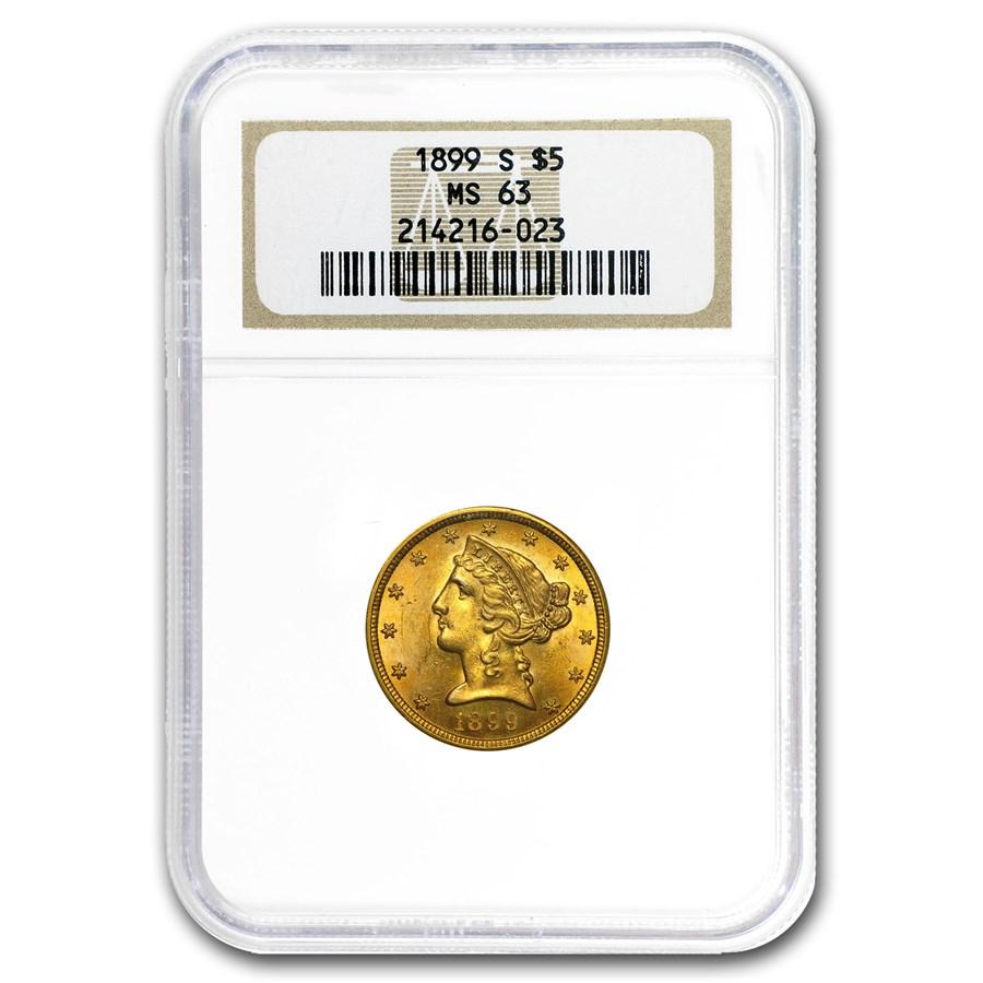 1899-S $5 Liberty Gold Half Eagle MS-63 NGC