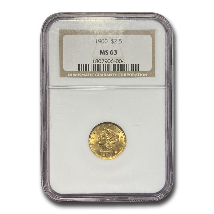 1900 $2.50 Liberty Gold Quarter Eagle MS-63 NGC
