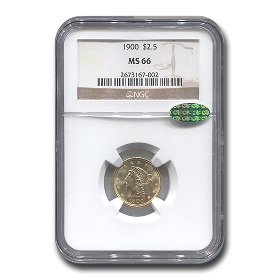 1900 $2.50 Liberty Gold Quarter Eagle MS-66 NGC CAC