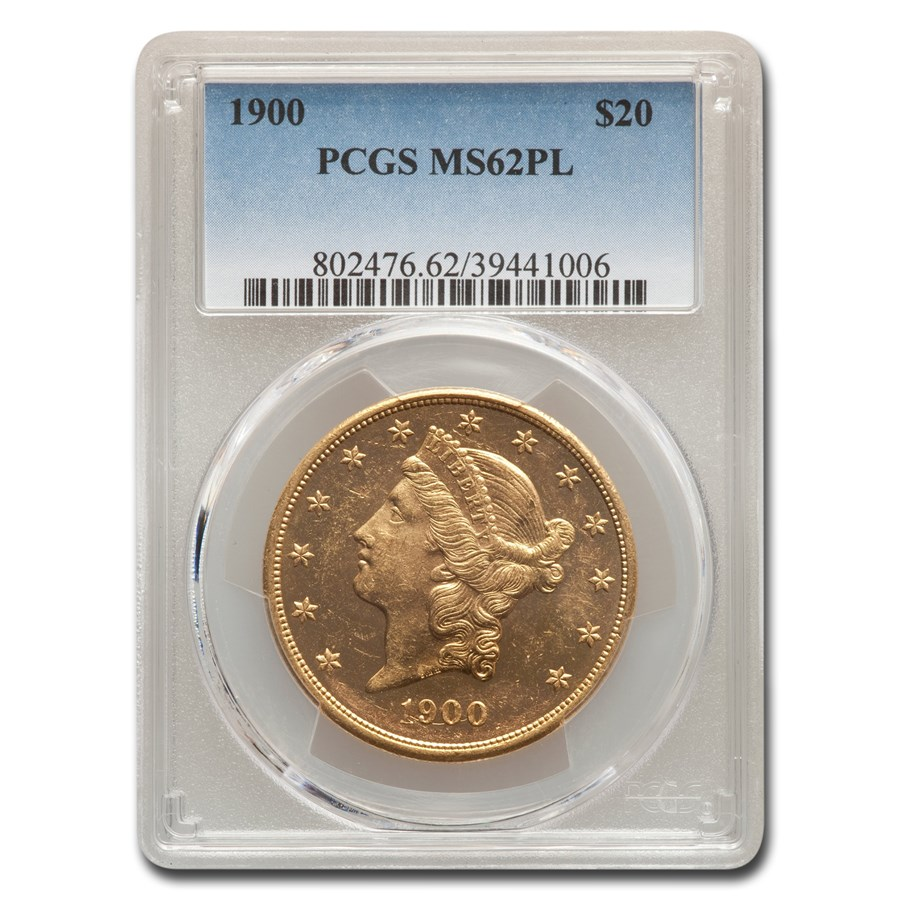1900 $20 Liberty Gold Double Eagle MS-62 PCGS (PL)