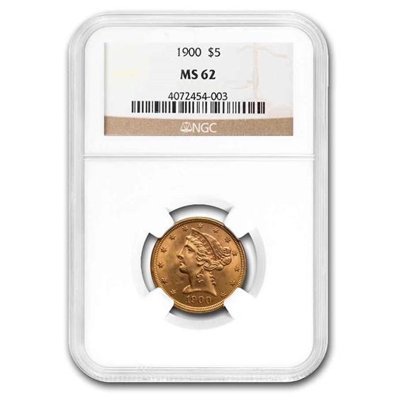 1900 $5 Liberty Gold Half Eagle MS-62 NGC