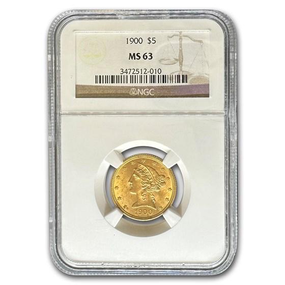 1900 $5 Liberty Gold Half Eagle MS-63 NGC
