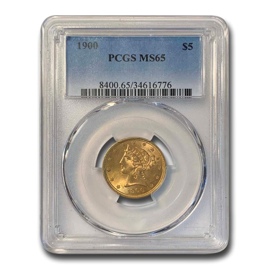 1900 $5 Liberty Gold Half Eagle MS-65 PCGS