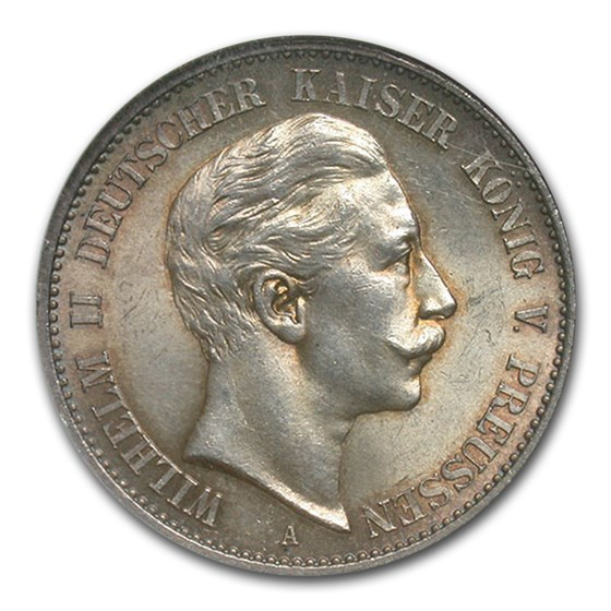 1900-A Prussia Silver 2 Mark Kaiser Wilhelm MS-61 NGC